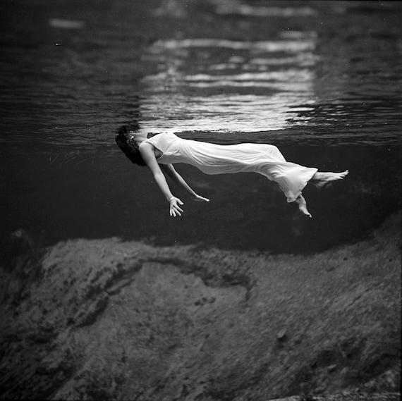 Underwater Photography , Black and White Vintage Fashion Photo , Weeki  Wachee Spring , Florida , Wall Decor , Wall Art , Woman Swimming