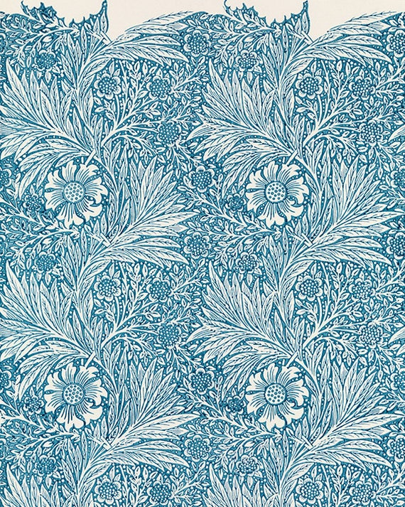 William Morris Wallpaper Block Print 1875 Blue Marigold Vintage Floral Print William Morris Print William Morris Pattern
