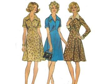"Simplicity 5914, 70s sewing pattern, size 16 bust 39"" women's dress pattern, collared summer dress, A-line dress"