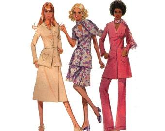 "McCall's 2496, 70s sewing pattern, size 14 bust 36"" women's dress, shirt pattern, flared pants pattern, A-line skirt"