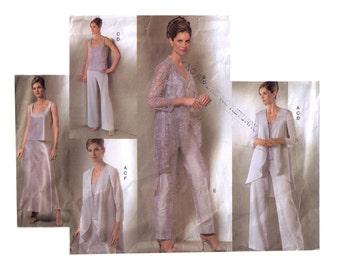 Vogue V2779, sewing pattern, size 14-18 women's jacket pattern, pants pattern, graduated hem, long sleeve jacket, grosgrain skirt
