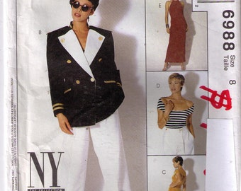 90s sewing pattern size 6-18 women/'s V neck jumpsuit tapered leg Uncut Style 1832