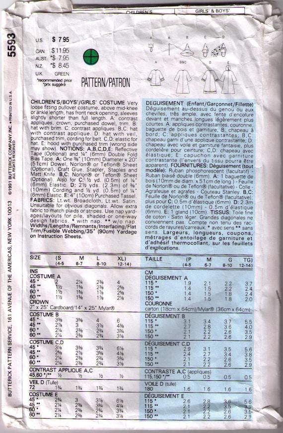 Butterick 5593 90er Jahre Schnittmuster Größe S-XL Kinder | Etsy