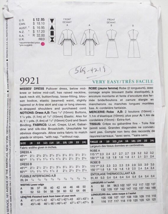 Ungeschnitten Vogue 9921 ausgestattet Mustergröße 20-24 Damen   Etsy