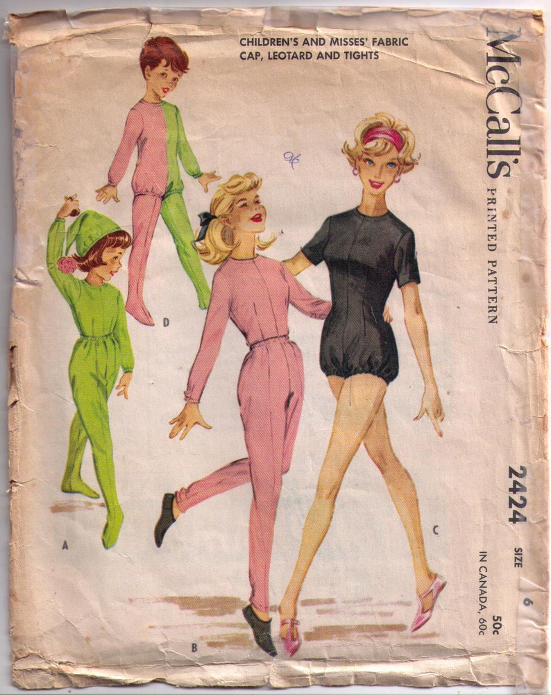 McCall/'s 2424 80s sewing pattern body suit pattern size 6 children/'s leotard pattern leggings pattern