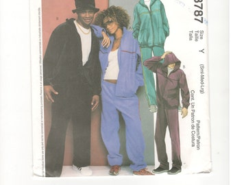 Uncut McCall's 3787 Sewing Pattern, Misses's and Men's Jacket, Pants and Hat, Size Sml-Med-Lrg. 90s Pattern.