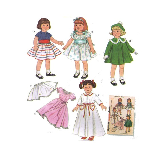 Pictured Fashion Doll Clothes Simplicity Sewing Pattern 1955 Use to Make