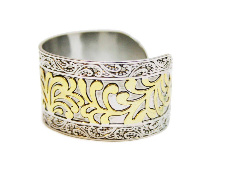 Vintage Mixed Metal Bangle Ornate Gold Silver Bangle with Scroll Details Statement Jewelry