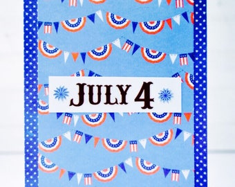 Fourth of July Invitation - Unique Handmade July Fourth Greeting Card / 4th of July Picnic Invite / July 4th Party / Independence Day Invite