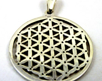 Sterling Silver Flower of Life Pendant detailed SSFOLP-01-A