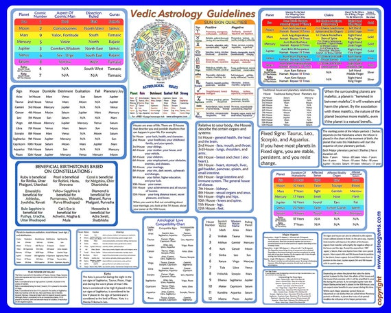 Vedic Astrology Chart Overview And Explanations Print Etsy