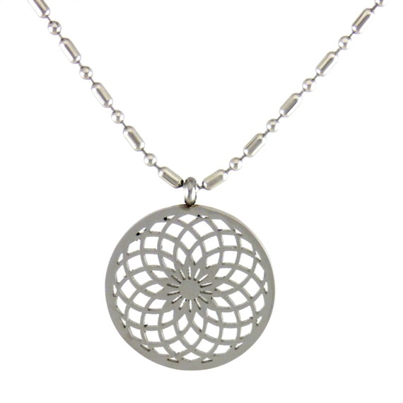 Torus Vortex Sacred Geometry Pendant and chain laser cut from stainless  steel SGP-07