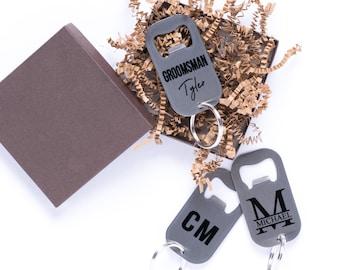 Personalized Bottle Opener Keychain - Custom Keychain / Groomsmen Gift / Wedding Gift / Bridesmaid Gift