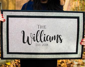 Custom Doormat, Personalized Doormat, Custom Last Name Doormat, Housewarming Gift, Wedding Gift, Anniversary Gift, Door Mat. Closing Gift
