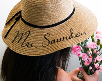 Personalized Sun Hat - Floppy Beach WITH VINYL floppy Honeymoon Hats Custom hat | Etsy