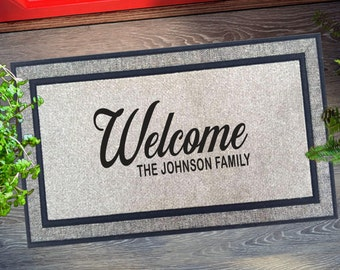 Welcome Family Name Door Mat, Housewarming Gift, Wedding Gift Ideas, Personalized Doormat, Last Name Doormat, Closing Gift, Farmhouse Decor