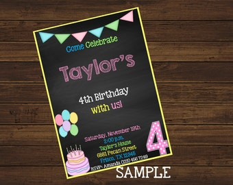 Chalkboard Birthday Invitation Custom Design