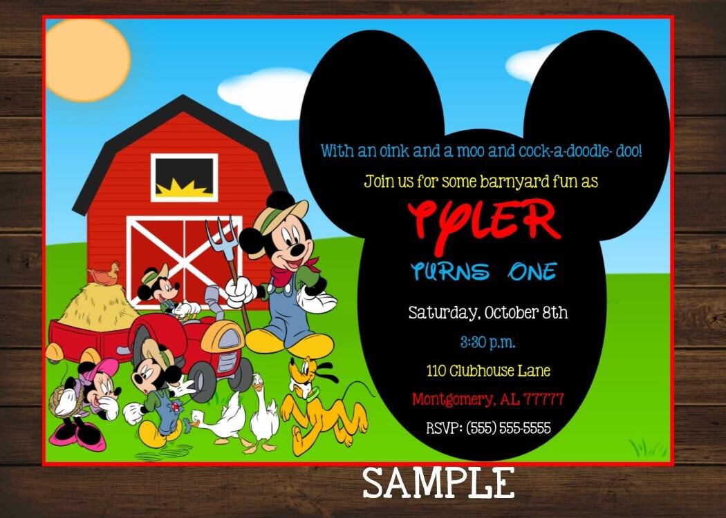 Mickey Mouse Birthday Invitation Farm Themed Animals
