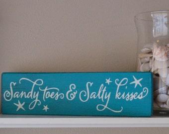Sandy Toes and Salty Kisses Rustic Wood Sign, Beach Wedding Decor, Laguna Blue and White Beach House Beach Decor Beach Sign