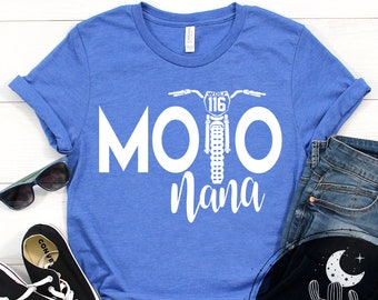 Moto Nana Personalized Dirt Bike Shirt, Add Your Rider Name and Number to the Bike Unisex Short Sleeve V-Neck or Long Sleeve Race Shirt