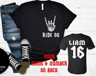 Ride On Racing Shirt, Skeleton Hand Personalized With Your Name and Number on Back, Adult Short or Long Sleeve or Youth Short Sleeve T-Shirt