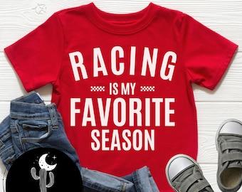 Racing Is My Favorite Season Shirt, Baby Bodysuit Toddler or Youth T-Shirt, Kids Motocross Dirt Bike Stock Car Sprint Car Race Shirt