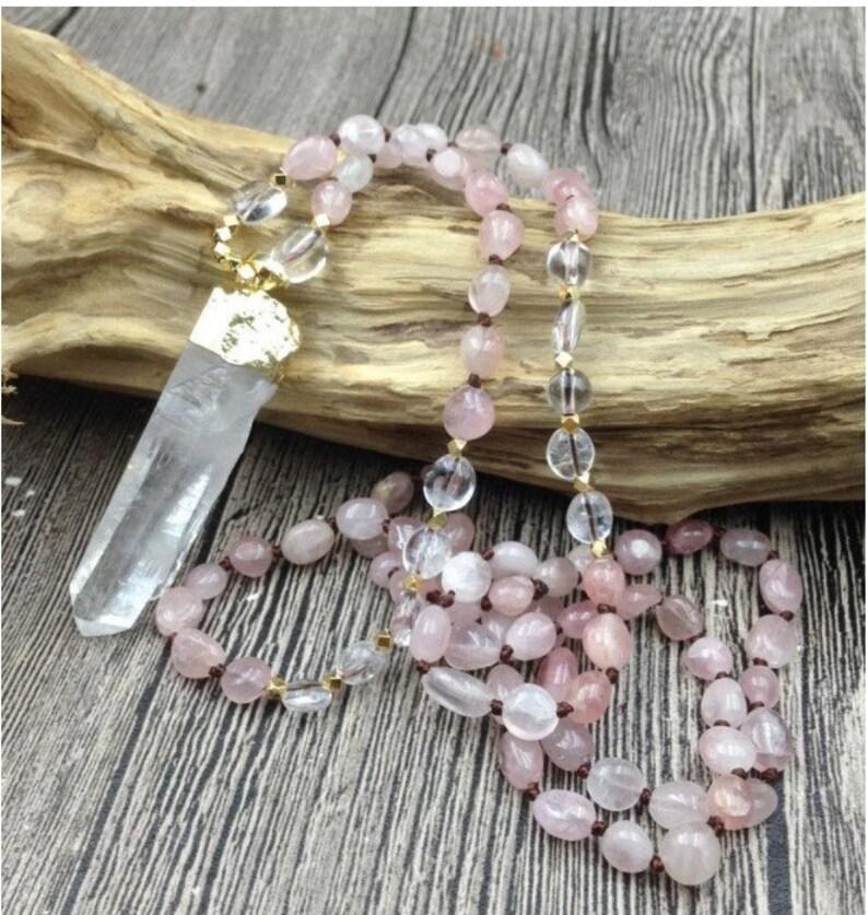 Rose Quartz Gemstone Necklace Crystal Necklace Gift Yoga Mandala Meditation Healing