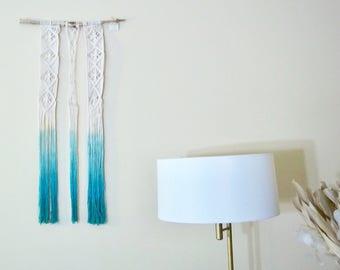 Macrame Wall Hanging Teal Dip Dye