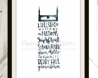 Nashville Batman Building Watercolor Print - More Neighborhoods | Nashville Hand Lettering | Watercolor Print