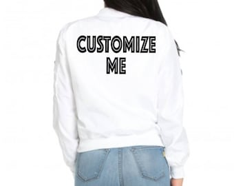 eabb8d8fff CUSTOM White Varsity Bomber Jacket- White Bomber Jacket with Custom Text-  Bride Lightweight Long Sleeve Zip Up Trendy Bomber Jacket
