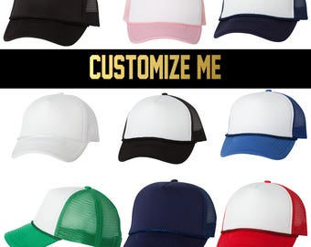 CUSTOM TEXT Five Panel Foam and Mesh Trucker Hat- Custom Headwear- Multi  Color Trucker Hats- Personalize- Unisex Trucker Foam Hat Adjustable 63d3aa03503f