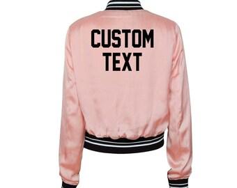 040043aba WOMENS CUSTOM Pink Varsity Bomber Jacket- Long Sleeve Zip Up Light Pink  Varsity Sports Jacket- Lightweight Bomber- Customize Varsity Jacket