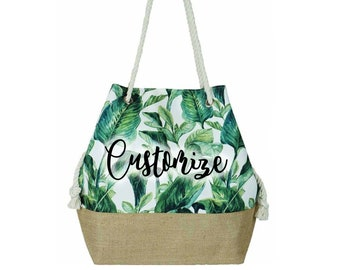 c8bf78936 CUSTOM TEXT Palm Leaf Natural Canvas Beach Tote Bag Rope Handle Banana Leaf  Beach Bag-Personalized Bachelorette Bag Vacation Custom Bag
