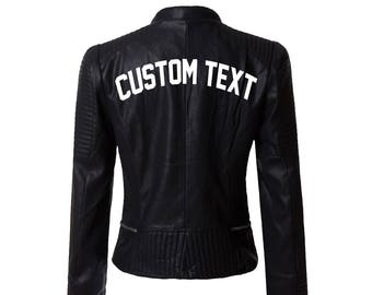 CUSTOM TEX Black Leather Jacket- Personalize Black Moto Faux Leather Jacket- Gift for Her- Choose Font Buttery Soft Faux Leather Moto