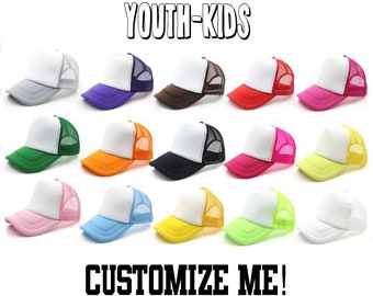 bf108dcaddc CUSTOM TEXT Youth and Kids Five Panel Foam and Mesh Trucker Hat- Youth  Custom Headwear- Multi Color Kids Trucker Hats- Unisex Adjustable