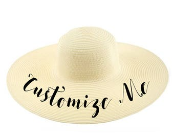 89bbb7b3e79 CUSTOM TEXT Natural Ivory Cream Straw Beach Hat- Personalize Your Own Beach Straw  Hat- Customize Your Own Hat- Vacation Straw Sun Hat