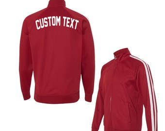 7a24cf6fb409f UNISEX CUSTOM Red and White Track Jacket- Poly Active Jacket Unisex-  Customize Your Own Track Jacket- Red with White Stripes- Custom