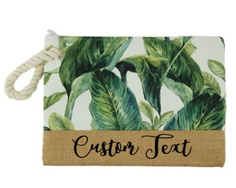 44362f9995a29 CUSTOM TEXT Tropical Beach Palm Leaf Clutch Bag- Customize Your Own Beach  Rope Clutch- Tropical Leaf Inspired Clutch w Personalized Text