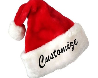 7856d8c3cd6a8 Custom Text Embroidery Name or Personalization Red Plush Santa Hat- Custom  Santa hat- Funny Gift for Christmas- Embroidered Santa hat
