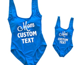 175f5b0ed8 Custom Text Mommy and Me Bright Blue One Piece Swimsuits- Mother Daughter  Matching Swimming Suits Mini Monokini Birthday Matching Kids Suits