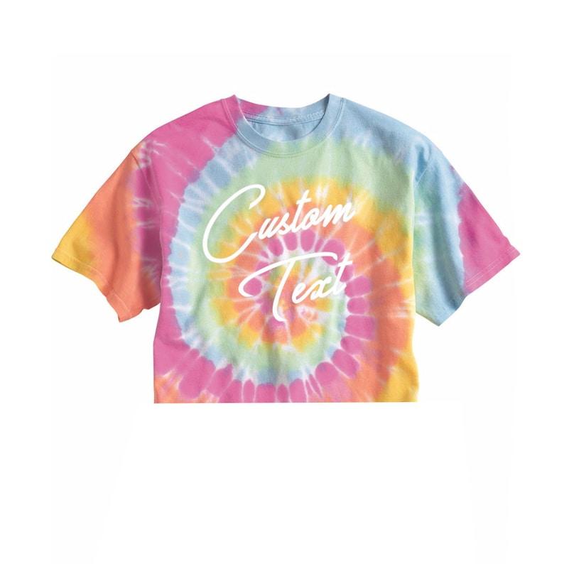 46c456e2fd96c Custom Text Pink Multicolor Tie Dye Crop Midi Top Shirt- Customize Tiedye  Crop Top- Bachelorette Trendy Fun Personalized T-Shirt- Festival
