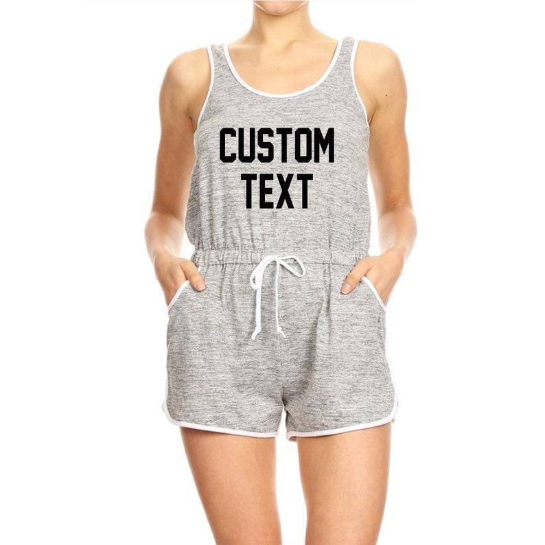 0e45fd06da Custom Text Soft Brush Shorts Lounge Romper Tank Top | Etsy