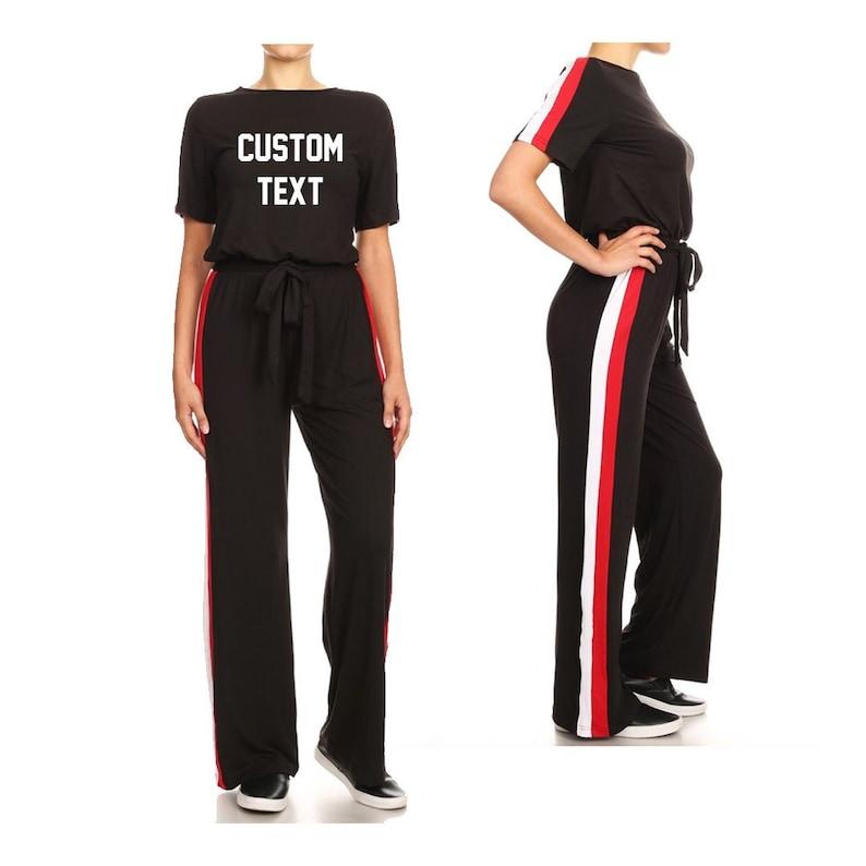 6b4d32dd8a80 Custom Text Black Striped Track Jumpsuit Custom Athletic One
