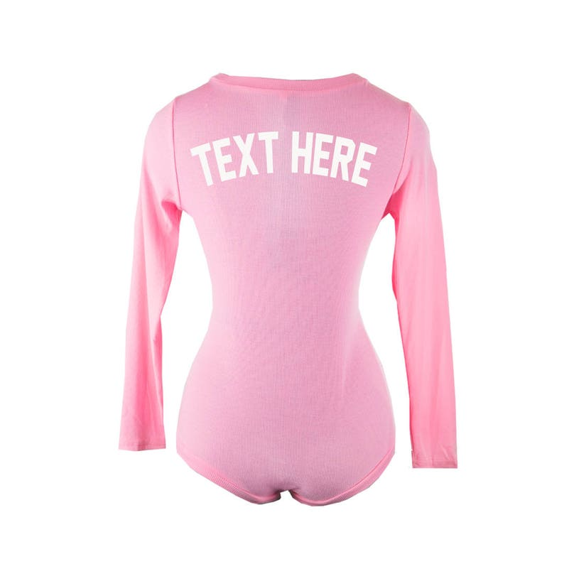 41a28822905 Custom Text or Last Name Pink Ribbed PJ Thermal Romper Adult