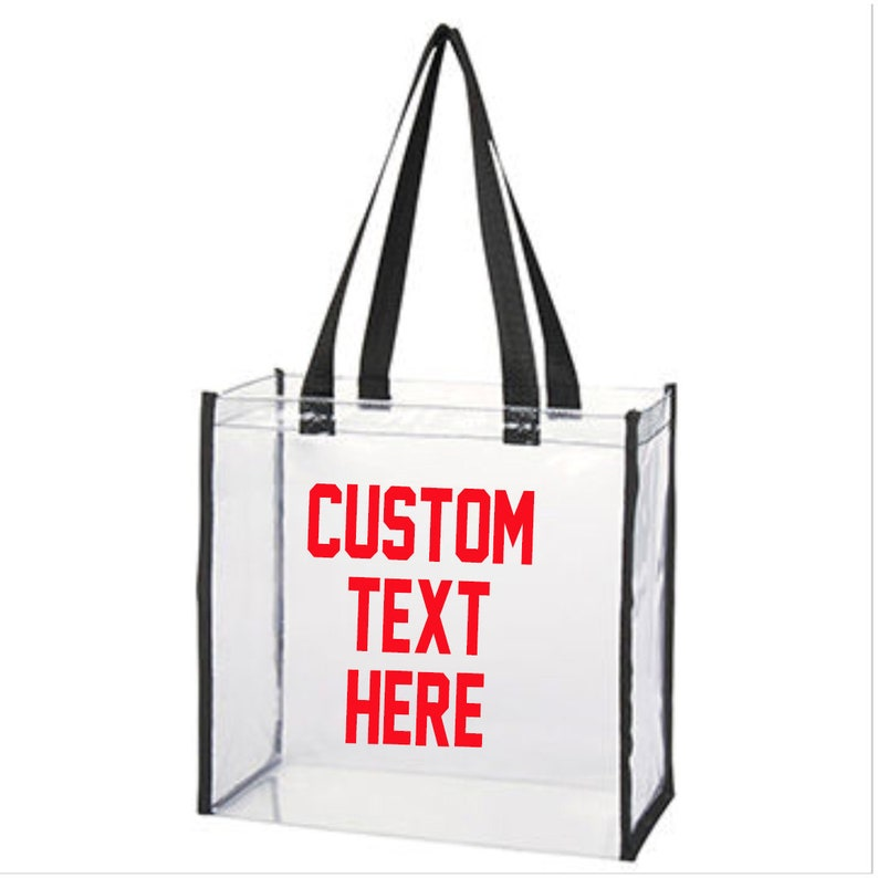 Choose Font Choose Text CUSTOM TEXT Clear Tote Bag with Black Piping Custom Clear Top Handle Tote Bag Customize Trendy Grocery Bag