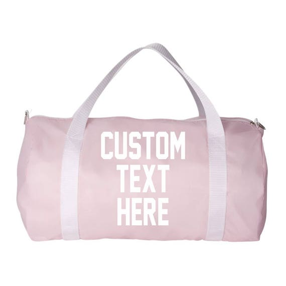 Custom Text Light Baby pink Duffel Bag with White Straps Pink  77386d0caa565