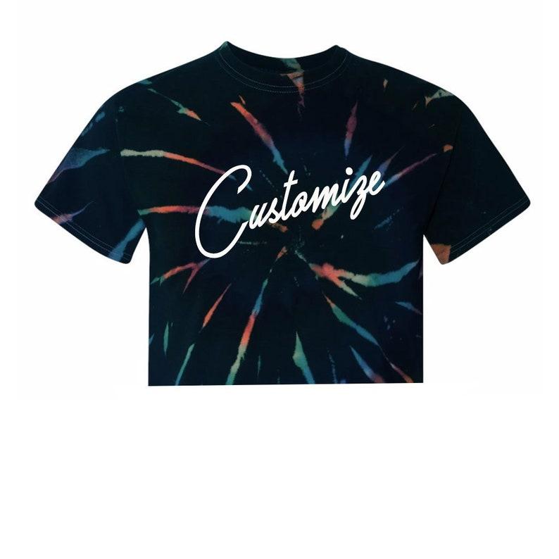2d7c4fa7dfb64 Custom Text Black Multicolor Tie Dye Crop Midi Top Shirt- Customize Tiedye  Crop Top- Rainbow Color Trendy Fun Personalized T-Shirt- Festival