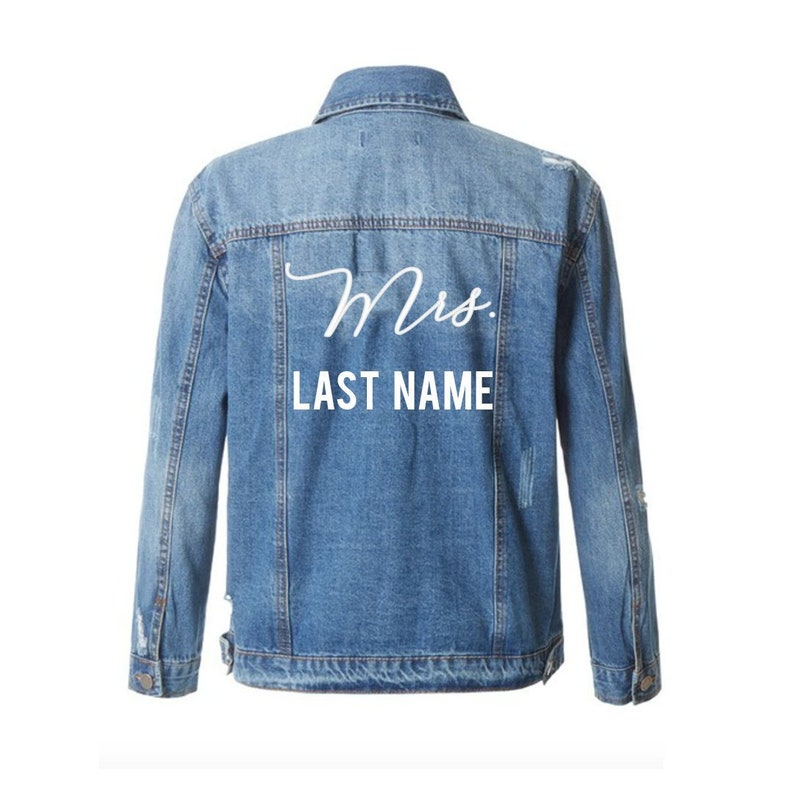 ac9f859d0 CUSTOM MRS TEXT Denim Jacket Mid-Wash Vintage Inspired and Distressed  Outerwear Jacket- Womens Distressed Custom Text Jacket Bride Mrs Denim