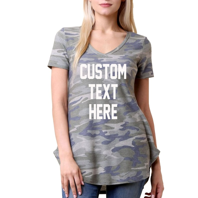 d7c89763 CUSTOM TEXT Green Camo V-neck T-shirt Cuffed Sleeve Custom | Etsy