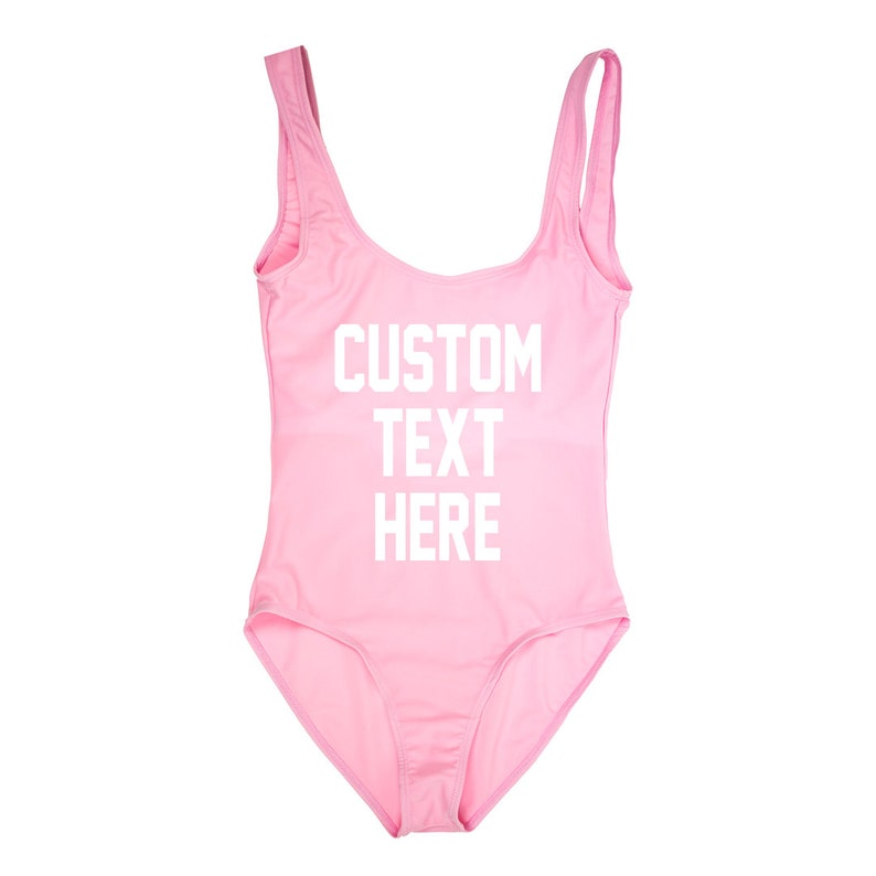 7ef961c196573 CUSTOM TEXT Light Pink One Piece Swimsuit Create Your Own